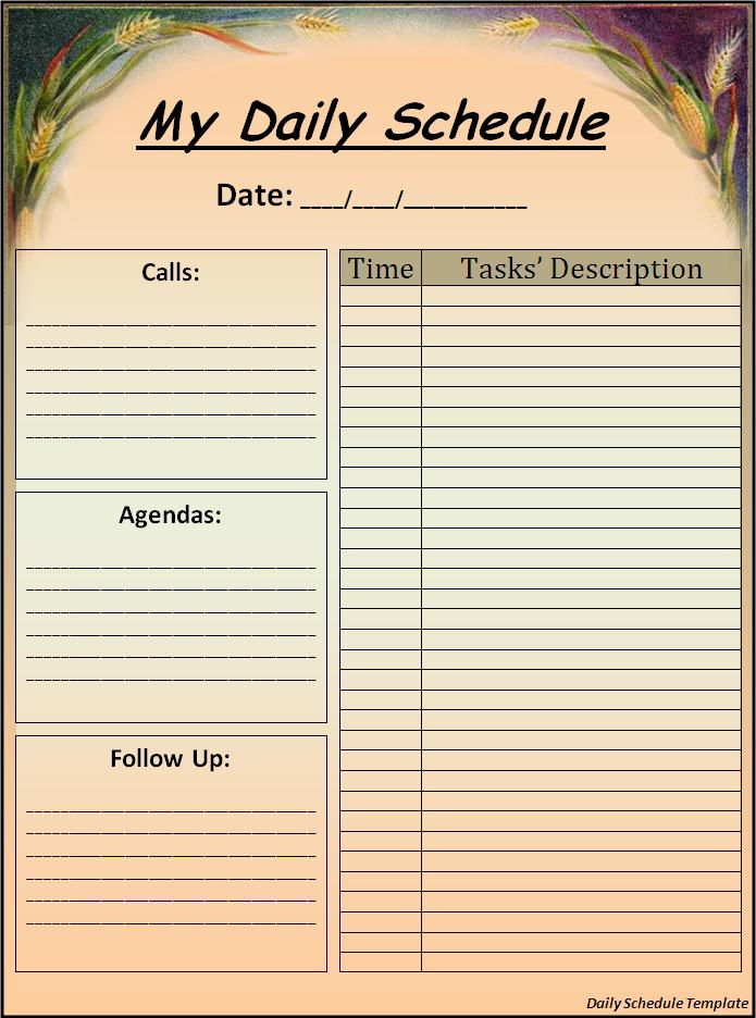 Doc1160809 Task Schedule Template Free Weekly Schedule – Daily Task Scheduler Template