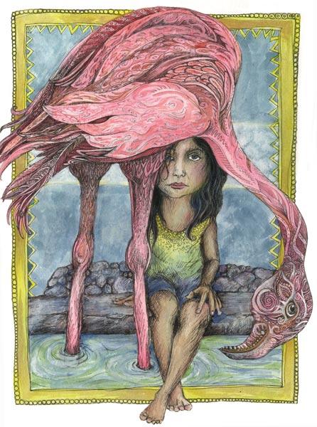 Flamingo & Girl