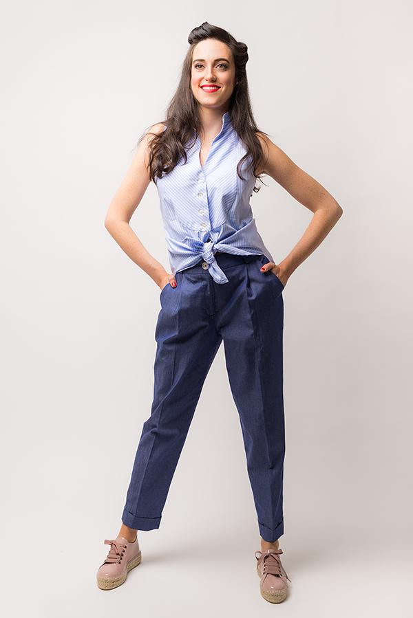 Top Escarabajo Rayas Azul 2 - Pantalón Saltamontes - SS19 Spring Bichos - Azul Marino Casi Negro - Moda sostenible