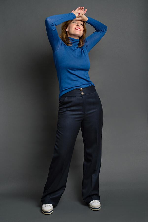 Pantalón Josefina Azul Marino 5 - AW2021 Las SinSombrero - Azul Marino Casi Negro - Moda sostenible