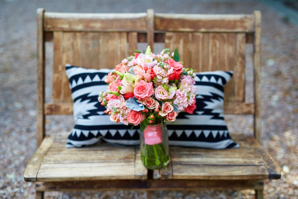 Bridal Boquete on Rustic Chairs