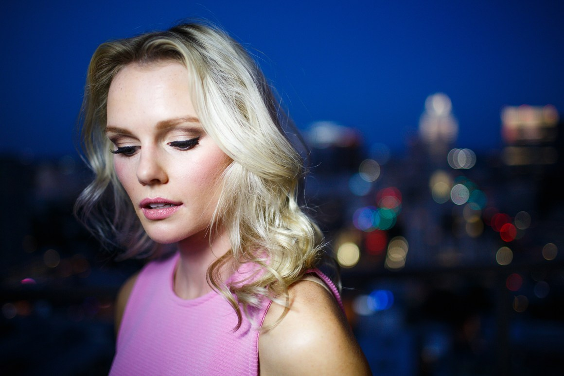 LED testing with Katie this time. At night against the Austin Skyline. I need to know what she was thinking right here
