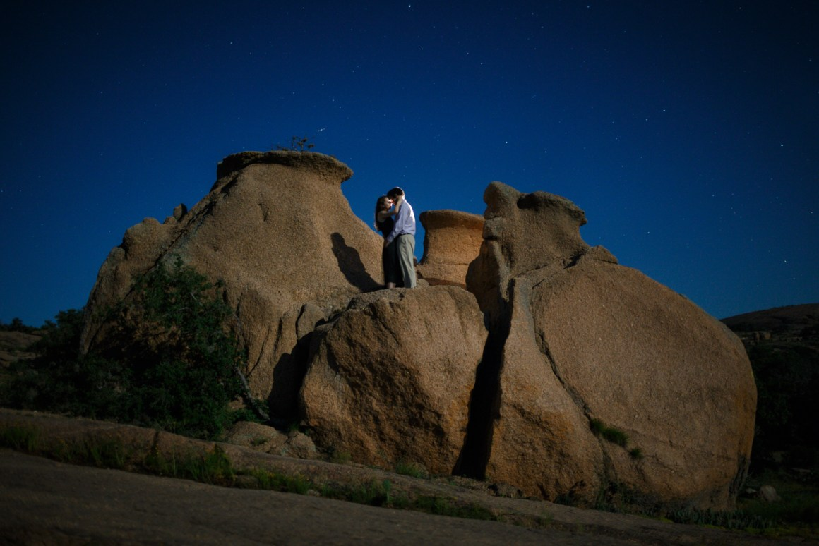 Enchanted A spur of the moment adventure engagement. Photos like this are where are work is heading as more and more couples take us on adventures that we document. Lit by the moon mostly with a little bit of flashlight at the top.