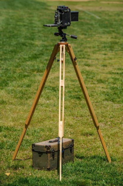 The wooden tripod I built.