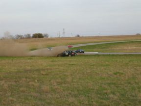 Flying off the race track in my WRX wagon at 100mph. I was a little ambitious entering that corner.