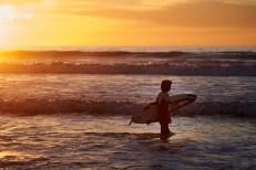 La Jolla Beach Surfing at Sunset