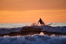 La Jolla Beach Surfing at Sunset