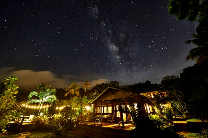 Milky Way over the Rain Forest Inn, El Yunque Rain Forest, Puert. Luck played a roll, but success in photography came through persistence.