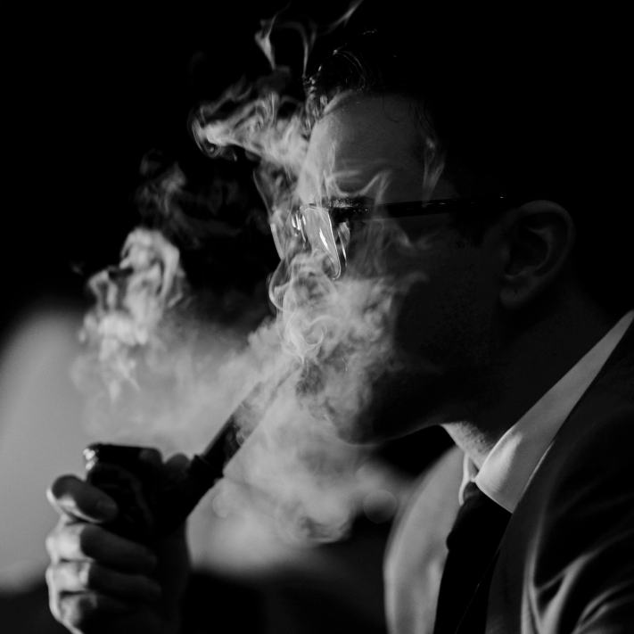 Groom Smoking a Pipe - Black and White Photography - Wedding Photography
