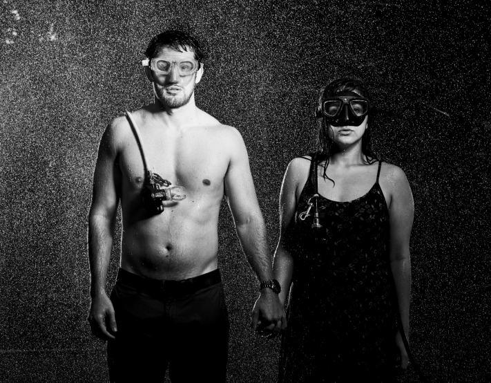 Soaked Engagement Photos - Portrait with Scuba Regulators and Masks - Portrait Photography