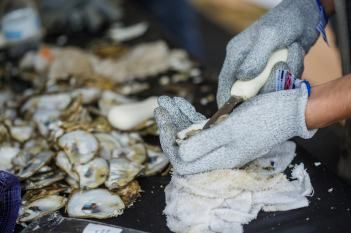 Corporate Event Staff Shucking Oysters - Corporate Event Photography Detail