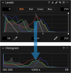 Levels Adjustment vs Output Histogram in Capture One