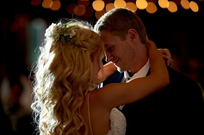 Choosing settings for a first dance photo at a wedding - I choose a bright aperture, f/2 as my primary decision.