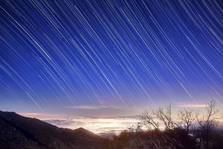Photographing Star Trails: A completed star trail from San Jacinto Mountain near L.A.