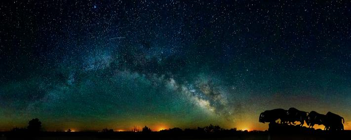 The milky way arches over the bison sculpture at Caprock Canyon State Park in north Texas.