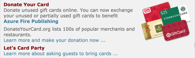 Click here to donate your unused or leftover gift card balance to Azure Fire Publishing