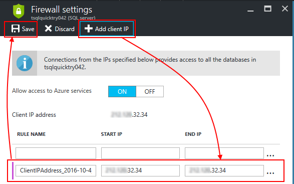 Azure SQL Srver Firewall Add Client IP
