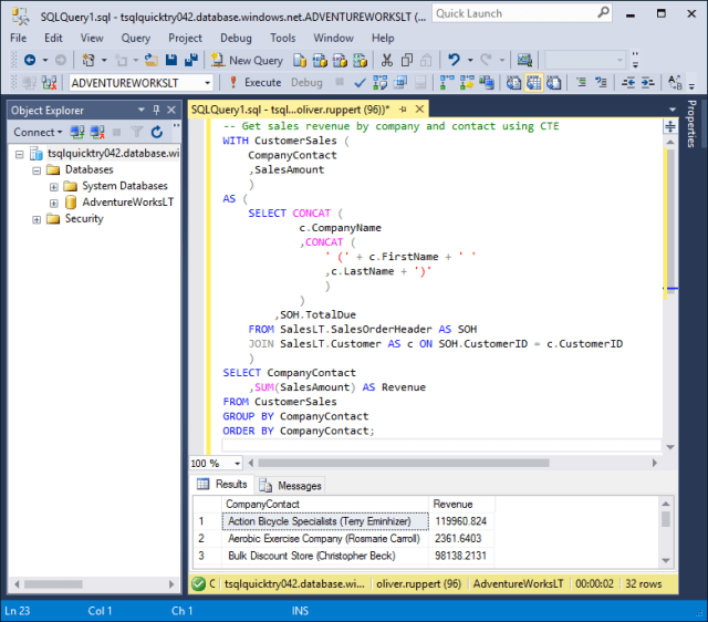 Run Query in MS SQL Server Management Studio