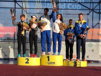 pentathlon finale coppa del mondo 2018 astana staffetta mista oro alice sotero riccardo de luca italia italy podio pentathlon moderno world cup 2018