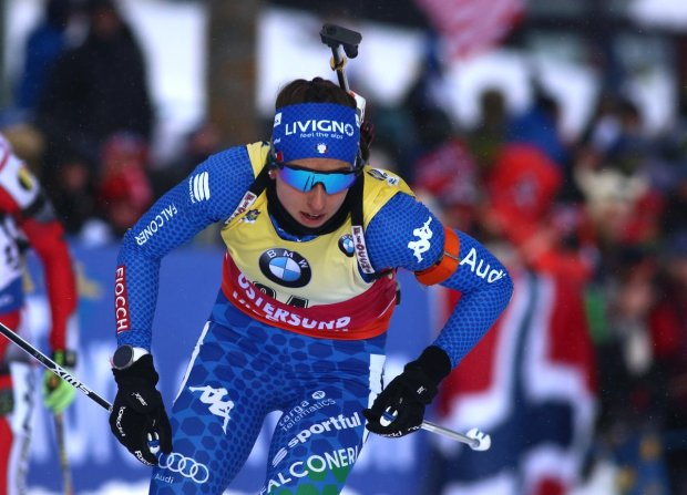 Lisa Vittozzi in gara ai Mondiali di Oestersund 2019