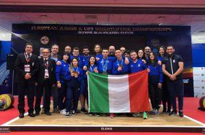 Il team azzurro di Sollevamento Pesi agli Europei 2019