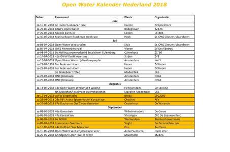 Open Water kalender 2018 vastgesteld