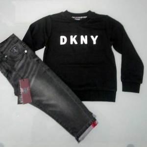 Σετ φούτερ και παντελόνι σε 2 χρώματα / jean and blouse set in two colours