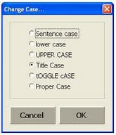 Titles and tags are case sensitive. Snapshot shows different case options with the title one selected.