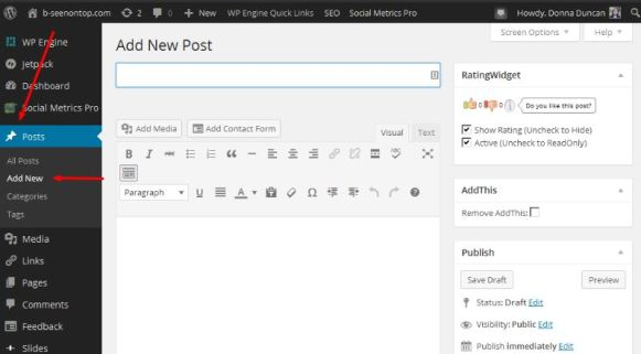"snapshot showing where to find ""create new post"" in WordPress"