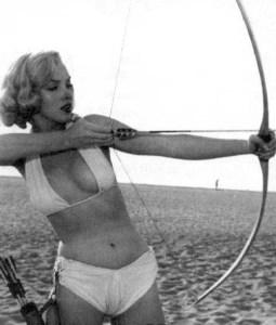 Marilyn Monroe as an archer