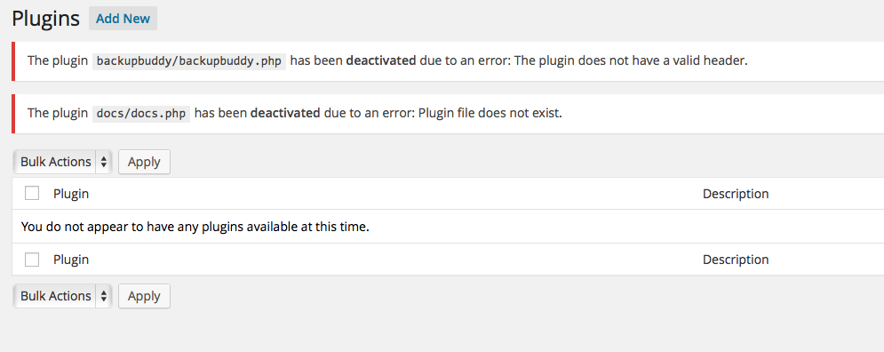 You Do Not Have Any Plugins Available