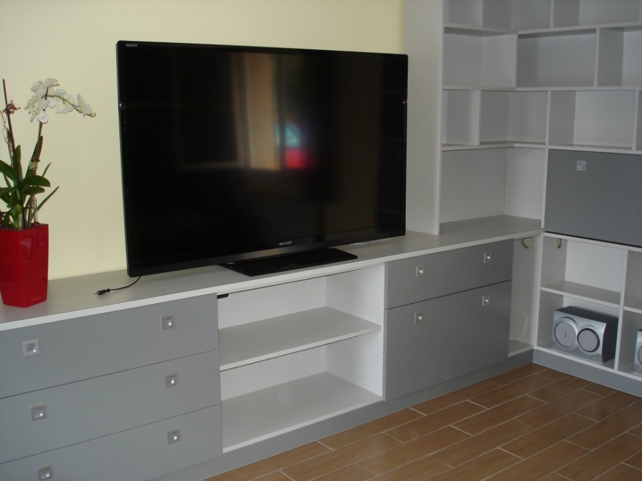 meuble tv bibliotheque d angle melamine gris 2