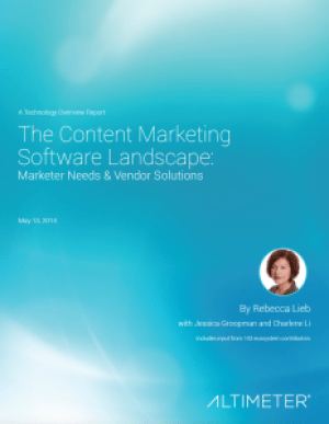 Ebook - The Content Marketing Software Landscape - from Altimeter