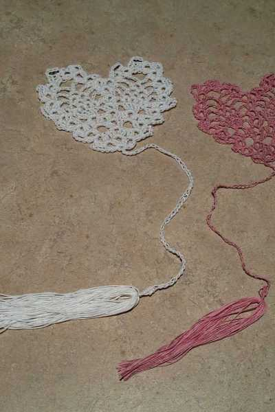 Crocheted Pineapple Heart Bookmark