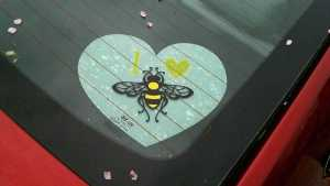 I heart Honey Bee decal with white heart underlaying the main design