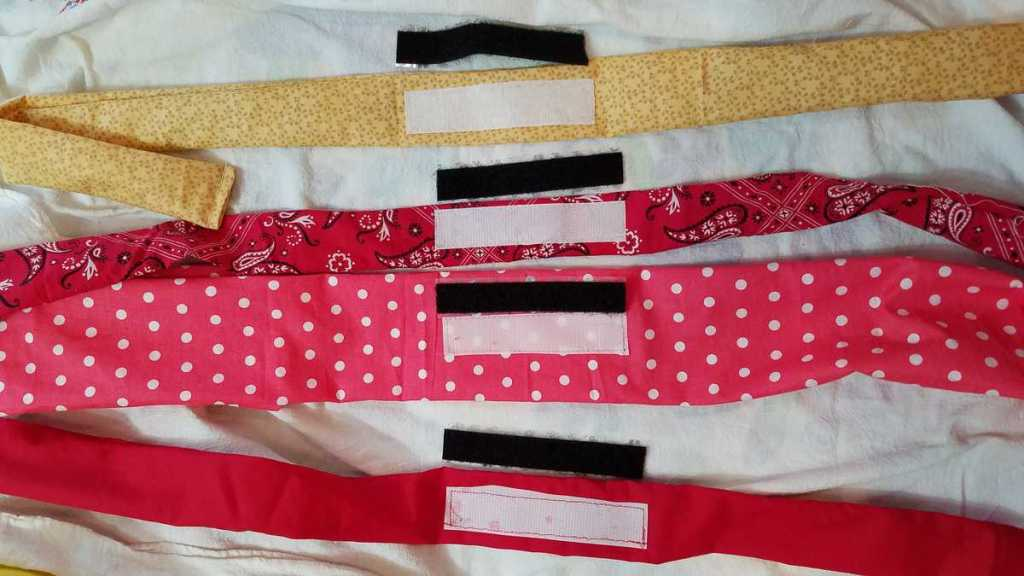 strips of fabric with pieces of velcro