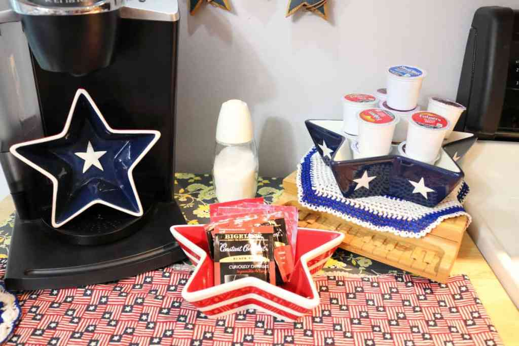 Glass Star nesting dishes holding coffee and tea supplies