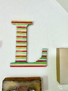 monogram wall letter made out of dowel rods