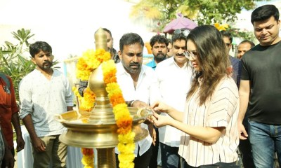 Sunny Leone in Pooja Function of Malayalam Movie Rangeela