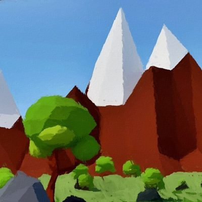 low-poly abstract fun landscape