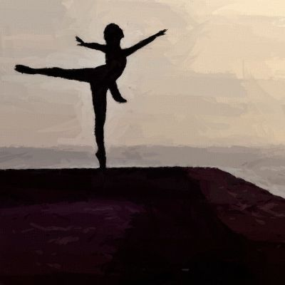 Ballet Dancer Silhouette Against Sky and Sea