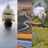 A Sailboat, a Paved Road, and a Locomotive