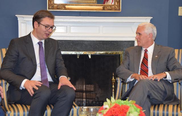 Hasil gambar untuk Vice President Pence participates in a bilateral meeting with President Aleksandar Vucic of Serbia