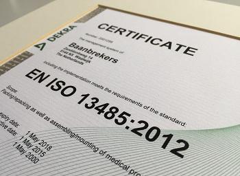 De cleanrooms van Baanbrekers zijn EN ISO 13.485:2012-normen gecertificeerd.