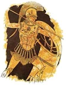 Imagen de Hoplita en una vasija griega