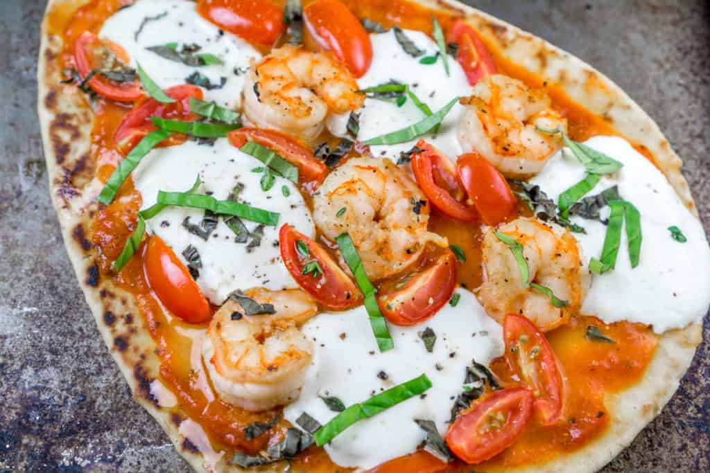 20 Minute Naan Shrimp Pizzas
