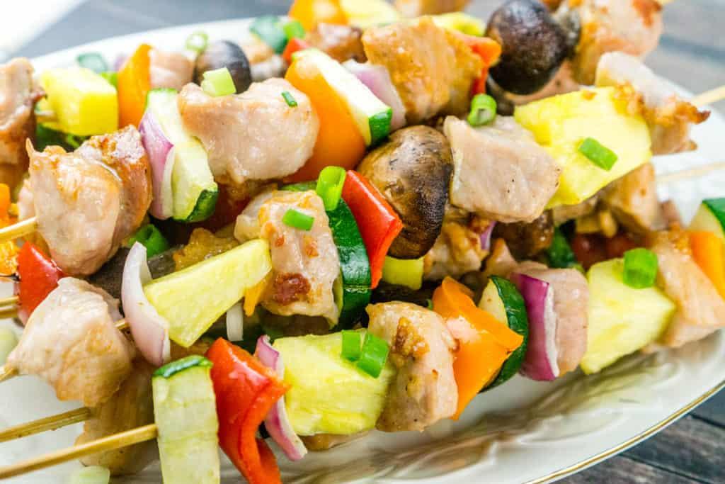 30 Minute Pork and Vegetable Kebabs