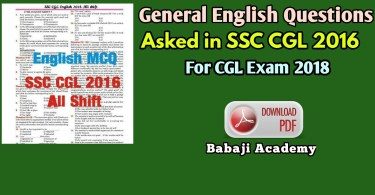 SSC CGL 2016 ENGLISH QUESTIONS PDF