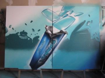 Wrigleys Airwaves, Spraycan on canvas, 2 x 100 x 120 cm, 2007