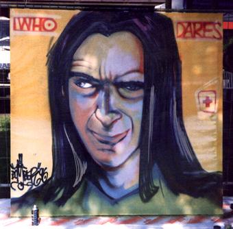 Who Dares/Portrait Dare Sigi von Koding, Spraycan on wood, 150 x 150 cmSchweiz 1993
